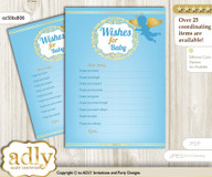 Boy Angel Wishes for a Baby, Well Wishes for a Little Angel Printable Card, Heaven, Gold Blue