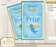 Boy Angel Diaper Raffle Printable Tickets for Baby Shower, Gold Blue, Heaven