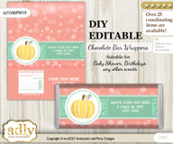 DIY Personalizable Gold Pumpkin Chocolate Bar Candy Wrapper Label for Gold  baby shower, birthday Mint , editable wrappers