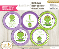 DIY Text Editable Girl Frog Cupcake Toppers Digital File, print at home, suitable for birthday, baby shower, baptism