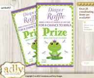 Girl Frog Diaper Raffle Printable Tickets for Baby Shower, Green Purple, Polka