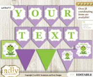 DIY Personalizable Girl Frog Printable Banner for Baby Shower, Green Purple, Polka
