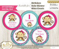 DIY Text Editable Girl Monkey Cupcake Toppers Digital File, print at home, suitable for birthday, baby shower, baptism