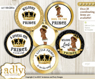 Baby Shower African Prince Cupcake Toppers Printable File for Little African and Mommy-to-be, favor tags, circle toppers, Black, Gold