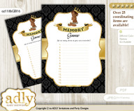 African Prince Memory Game Card for Baby Shower, Printable Guess Card, Gold, Black