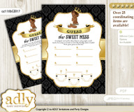 African Prince Dirty Diaper Game or Guess Sweet Mess Game for a Baby Shower Gold, Black