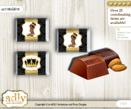 African Prince Chocolate Nuggets Candy Wrapper Label for Baby African Shower  Gold , Black