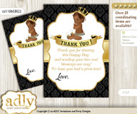 African  Prince Thank you Cards for a Baby African Shower or Birthday DIY Gold, Black