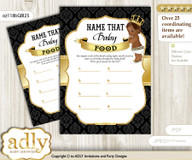 African Prince Guess Baby Food Game or Name That Baby Food Game for a Baby Shower, Gold Black