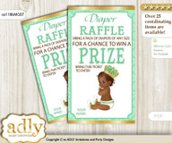 African Prince Diaper Raffle Printable Tickets for Baby Shower, Gold, Mint