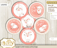 Baby Shower Girl Lamb Cupcake Toppers Printable File for Little Girl and Mommy-to-be, favor tags, circle toppers, Sheep, Coral