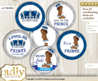 Baby Shower African Prince Cupcake Toppers Printable File for Little African and Mommy-to-be, favor tags, circle toppers, Crown, Silver blue