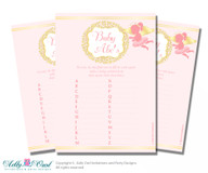Little Angel Baby ABC's Game, guess Animals Printable Card for Baby Angel Shower DIY –Pink