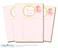 Little Angel Memory Game Card for Baby Shower, Printable Guess Card, Gold, Pink