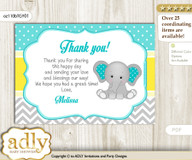 Boy Elephant Thank you Printable Card with Name Personalization for Baby Shower or Birthday Party nnn