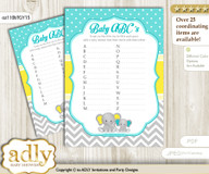 Boy Elephant Baby ABC's Game, guess Animals Printable Card for Baby Elephant Shower DIY – Grey