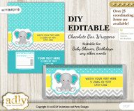 DIY Personalizable Boy Elephant Chocolate Bar Candy Wrapper Label for Boy  baby shower, birthday Mint Yellow , editable wrappers