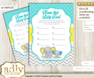 Boy Elephant Guess Baby Food Game or Name That Baby Food Game for a Baby Shower, Mint Yellow Grey