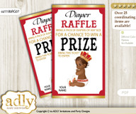 African Prince Diaper Raffle Printable Tickets for Baby Shower, Red gold, Royal