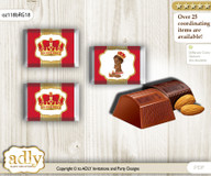 African Prince Chocolate Nuggets Candy Wrapper Label for Baby African Shower  Red gold , Royal