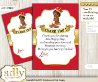 African  Prince Thank you Cards for a Baby African Shower or Birthday DIY Red gold, Royal