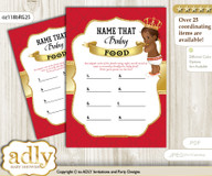 African Prince Guess Baby Food Game or Name That Baby Food Game for a Baby Shower, Red gold Royal