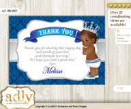 African Prince Thank you Printable Card with Name Personalization for Baby Shower or Birthday Party m