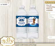 African Prince Water Bottle Wrappers, Labels for a Prince  Baby Shower, Silver blue, Crown