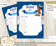 African Prince Wishes for a Baby, Well Wishes for a Little Prince Printable Card, Crown, Silver blue