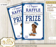 African Prince Diaper Raffle Printable Tickets for Baby Shower, Silver blue, Crown