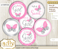 Baby Shower Girl Butterfly Cupcake Toppers Printable File for Little Girl and Mommy-to-be, favor tags, circle toppers, Summer, Pink Grey