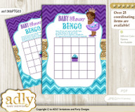 Printable Teal Gold Princess Bingo Game Printable Card for Baby African Shower DIY grey, Teal Gold, Royal