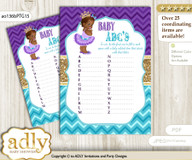 African Princess Baby ABC's Game, guess Animals Printable Card for Baby Princess Shower DIY – Royal v