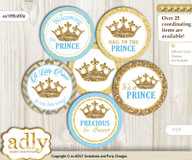 Baby Shower Royal Prince Cupcake Toppers Printable File for Little Royal and Mommy-to-be, favor tags, circle toppers, Crown, Blue Gold v