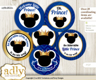 Baby Shower Prince Mickey Cupcake Toppers Printable File for Little Prince and Mommy-to-be, favor tags, circle toppers, Royal, Blue Gold n