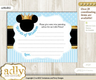 blue gold Prince Mickey Words of Wisdom or an Advice Printable Card for Baby Shower, Royal