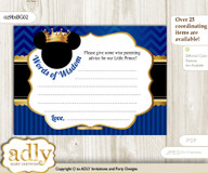 Blue Gold Prince Mickey Words of Wisdom or an Advice Printable Card for Baby Shower, Royal n