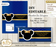DIY Personalizable Prince Mickey Chocolate Bar Candy Wrapper Label for Prince  baby shower, birthday Blue Gold , editable wrappers n