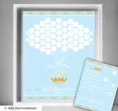 Blue Gold Prince  Guest Book Alternative for a Baby Shower, Creative Nursery Wall Art Gift,  Crown,  Royal