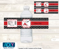 Girl SneakersWater Bottle Wrappers, Labels for a  Sneakers  Baby Shower,  red black,  Sport
