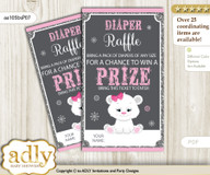 Girl Polar Bear Diaper Raffle Printable Tickets for Baby Shower, pink grey, Snowflake