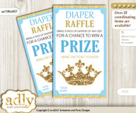 Royal Prince Diaper Raffle Printable Tickets for Baby Shower, Blue Gold, Crown v