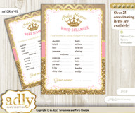 Royal Princess Word Scramble Game for Baby Shower m