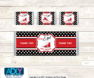 Girl Sneakers Chocolate Bar Wrapper and Nuggets Candy Wrapper Label for Baby  GirlShower  red black ,  Sport
