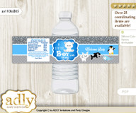 Boy Arctic Water Bottle Wrappers, Labels for a Arctic  Baby Shower, Blue Silver, Winter