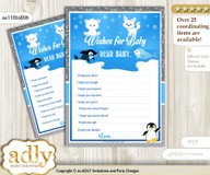 Arctic Wishes for a Baby, Well Wishes for a Little Arctic Printable Card, Winter, Blue Silver nmv