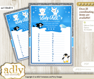 Boy Arctic Baby ABC's Game, guess Animals Printable Card for Baby Arctic Shower DIY – Winter