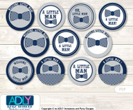 Baby Shower  Lil Man Bow TieCupcake Toppers Printable File for Little  Lil Man and Mommy-to-be, favor tags, circle toppers,  Chevron,  grey bku