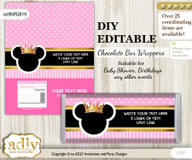 DIY Personalizable Minnie Mouse Chocolate Bar Candy Wrapper Label for Minnie  baby shower, birthday Pink Gold , editable wrappers