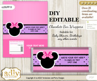 DIY Personalizable Girl Minnie Chocolate Bar Candy Wrapper Label for Girl  baby shower, birthday Purple Pink , editable wrappers